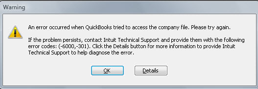 QuickBooks error code -6000, -301 - Screenshot
