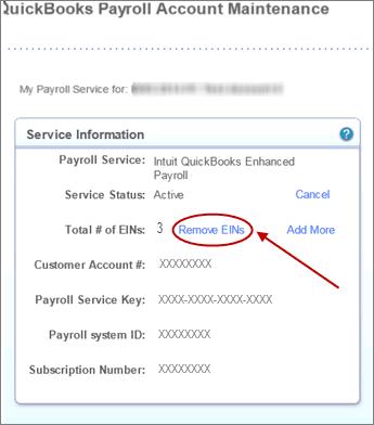 Remove employee identification number (EIN) - Screenshot