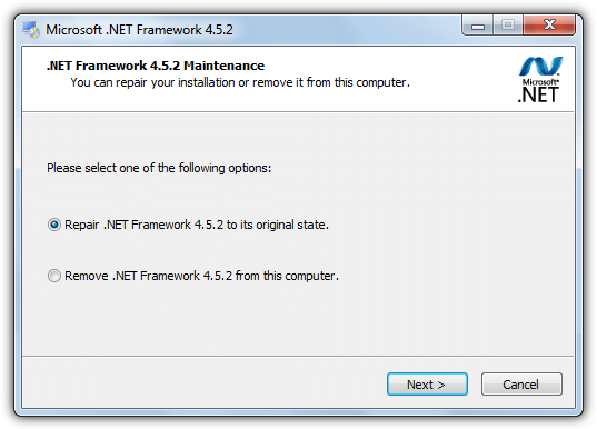 Repair the installed Microsoft.net framework - Screenshot