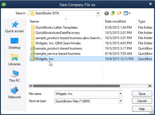 Save company file as dialog box - Screenshot