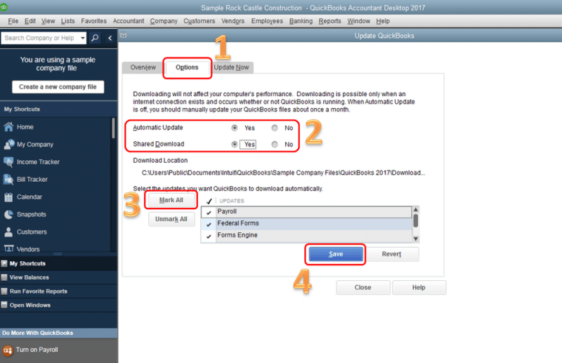 Steps to share the updates in QuickBooks - Screenshot