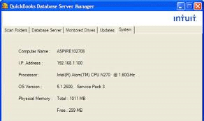 System tab in database server manager - Screenshot