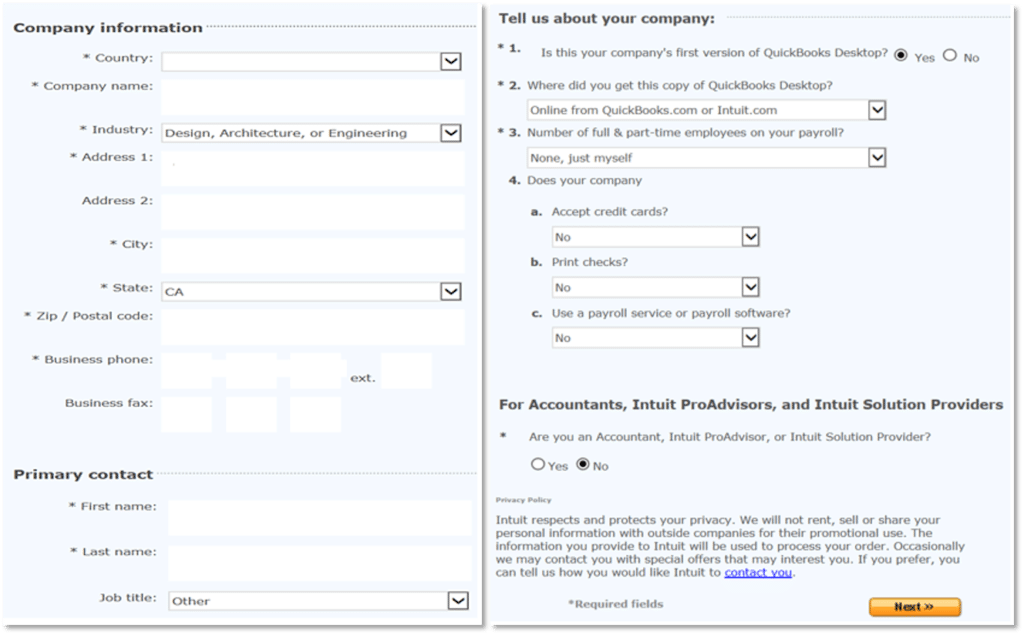 Tell us about your company and Review your customer account (Trial Version)- Screenshot