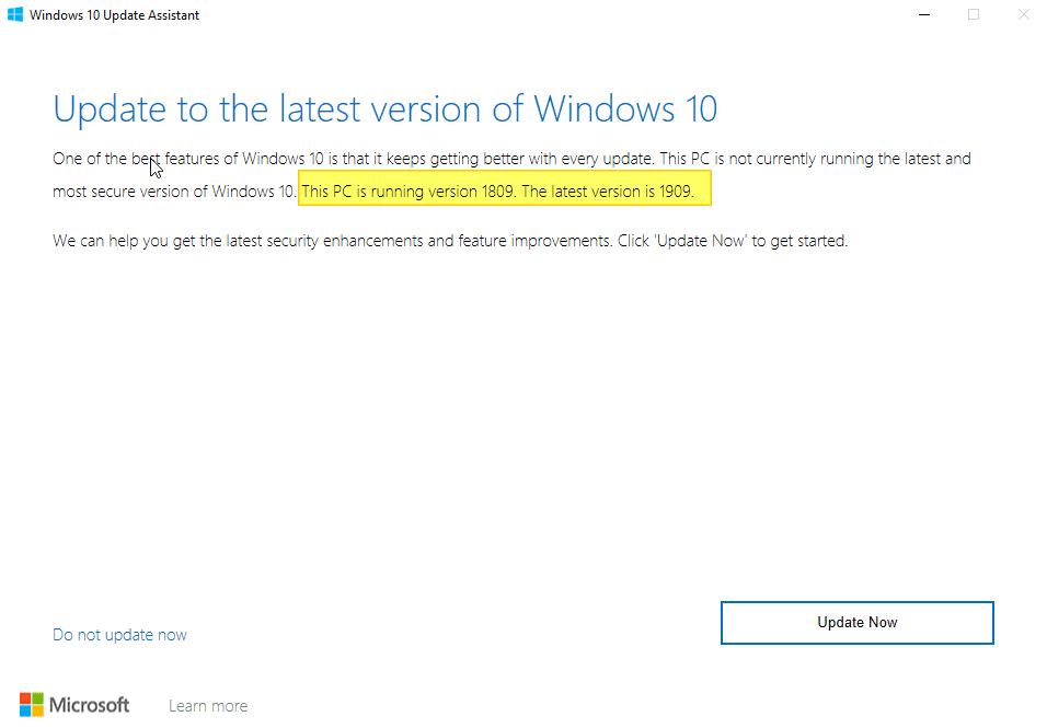 Update Now button in Windows 10 - Screenshot