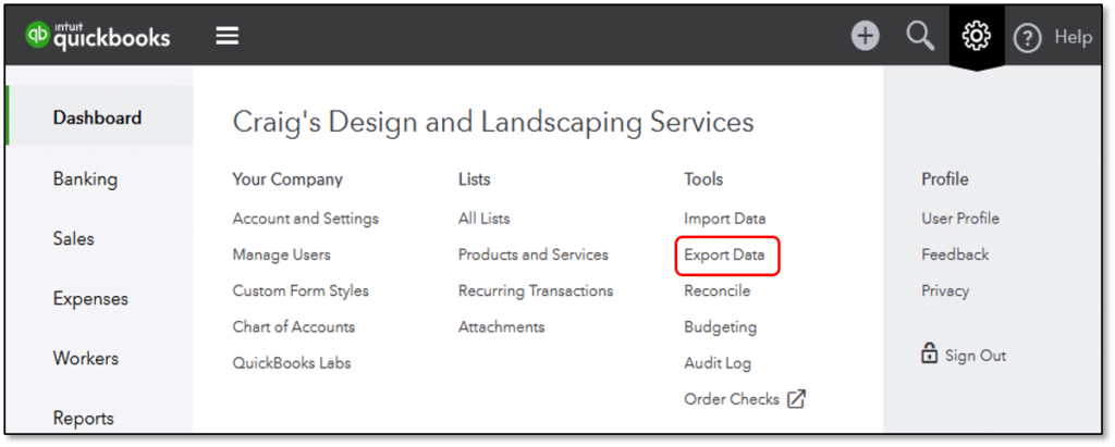 export data- screenshot