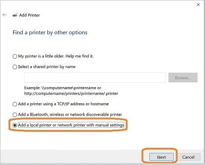 Add a local printer or network print with manual settings - Screenshot