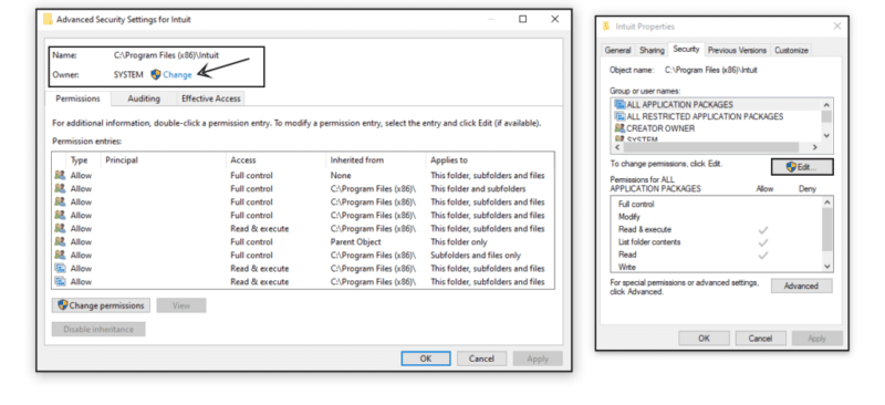 Adding Windows permissions to QuickBooks installation folders - Screenshot