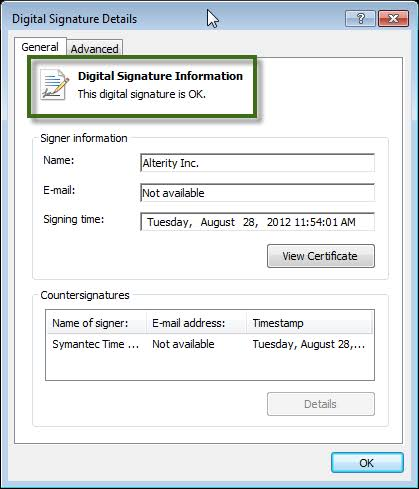 Download and install a digital signature certificate - Screenshot