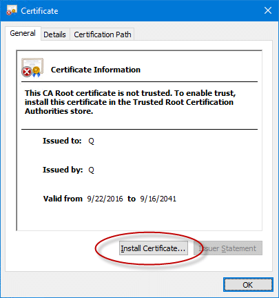 Install certificate - Screenshot