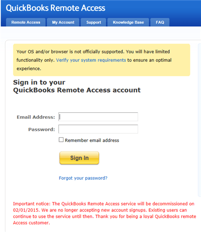 Intuit QuickBooks Remote Access - Screenshot