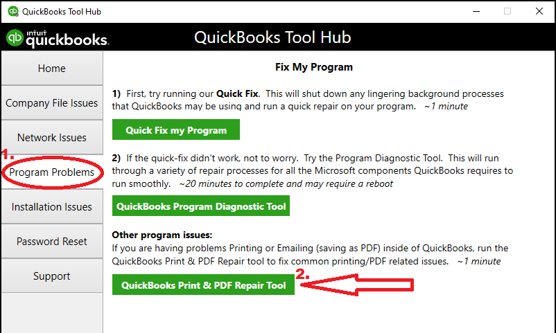 PDF Print repair tool from the QuickBooks tool hub - Screenshot