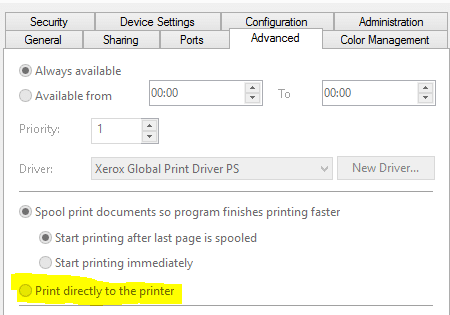 Print directly to the printer - Screenshot