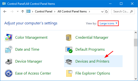 Printer control panel in the windows - Screenshot