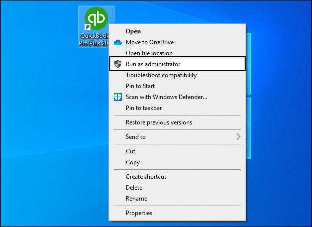 Run QuickBooks as Administrator - Screenshot 1