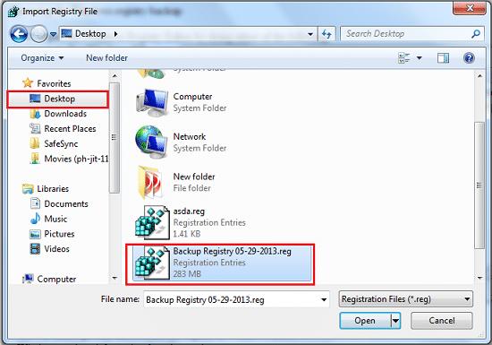 Save the created registry backup on the desktop - Screenshot