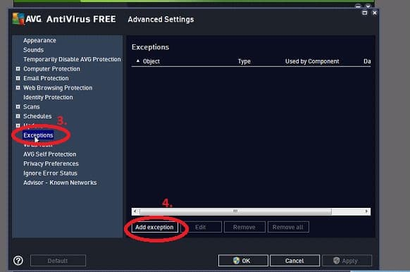 Select manage exceptions in AVG Antirius - Screenshot