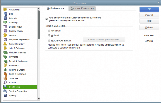 Send forms options in QuickBooks - Screenshot