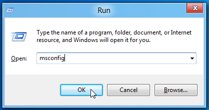 Type msconfig in Run box - Screenshot