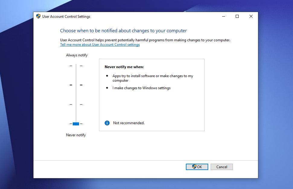 User account control windows 10 - Screenshot Image