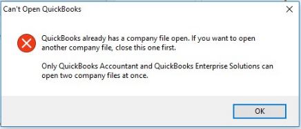 Can't Open QuickBooks - QuickBooks already has a company file open - Screenshot