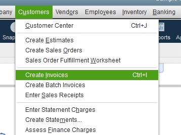 Creating an invoice from scratch in QuickBooks - Screenshot 1
