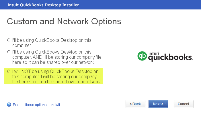 Installing QuickBooks enterprise - Screenshot