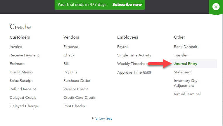 Journal Entry option in QuickBooks - Screenshot