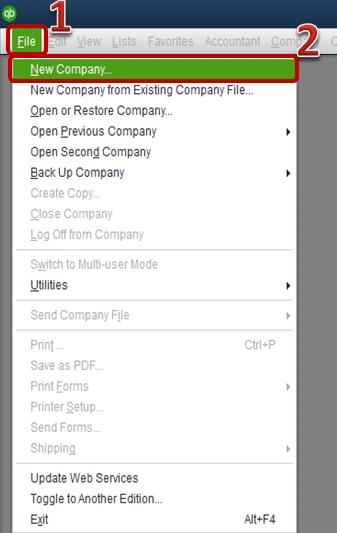 New company option - Screenshot