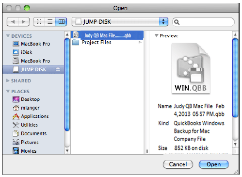 Open Mac.qbb file in QuickBooks desktop - Screenshot