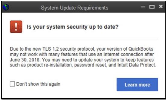 QuickBooks TLS 1.2 Update Requirement - Screenshot