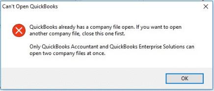 QuickBooks can not open error message - Screenshot