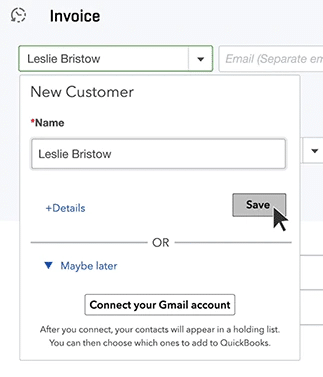 Select the Customer You're Invoicing - Screenshot