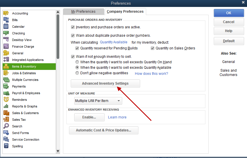 Advanced Inventory Settings in QuickBooks - Screenshot
