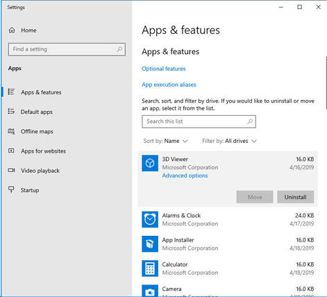 Apps and Features option in Windows 10 - Screenshot
