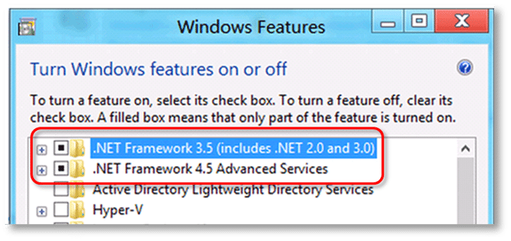 Checking .NET framework 4.5 (or later) - Screenshot