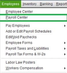 Payroll Center in QuickBooks - Screenshot