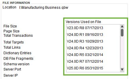 QuickBooks Desktop Version Used on Product Information - Screenshot