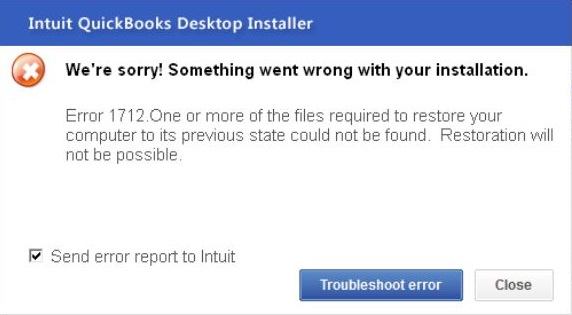 QuickBooks install Error 1712 - Screenshot