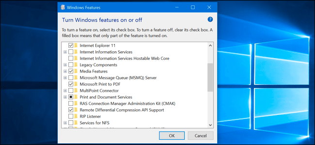 Turn windows features on or off - Screenshot