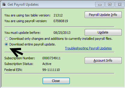 Payroll tax table updates-screenshot