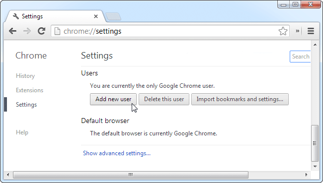 Add a new user to Chrome browser - Screenshot