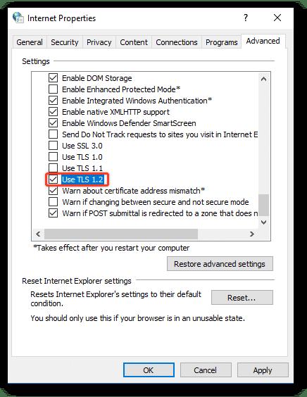 Check the TLS 1.2 - Screenshot