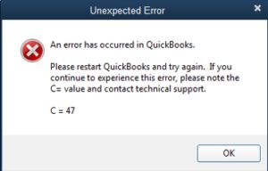 QuickBooks Error Code C=47 - Screenshot