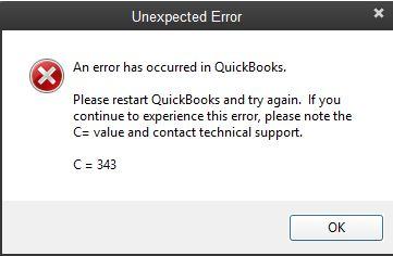 QuickBooks Unexpected Error Code C=343 - Screenshot