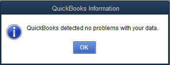 QuickBooks detected no problems with your data - Screenshot