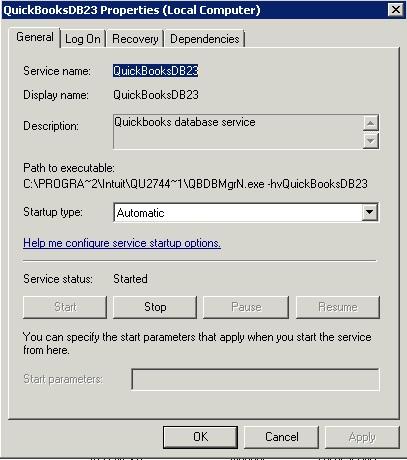 QuickBooksDB3 properties tab - Screenshot