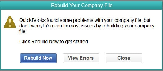Rebuild now and View errors - Screenshot Image