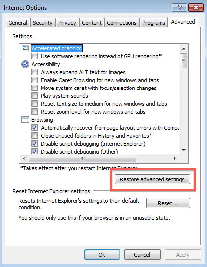Restore advanced settings - Screenshot