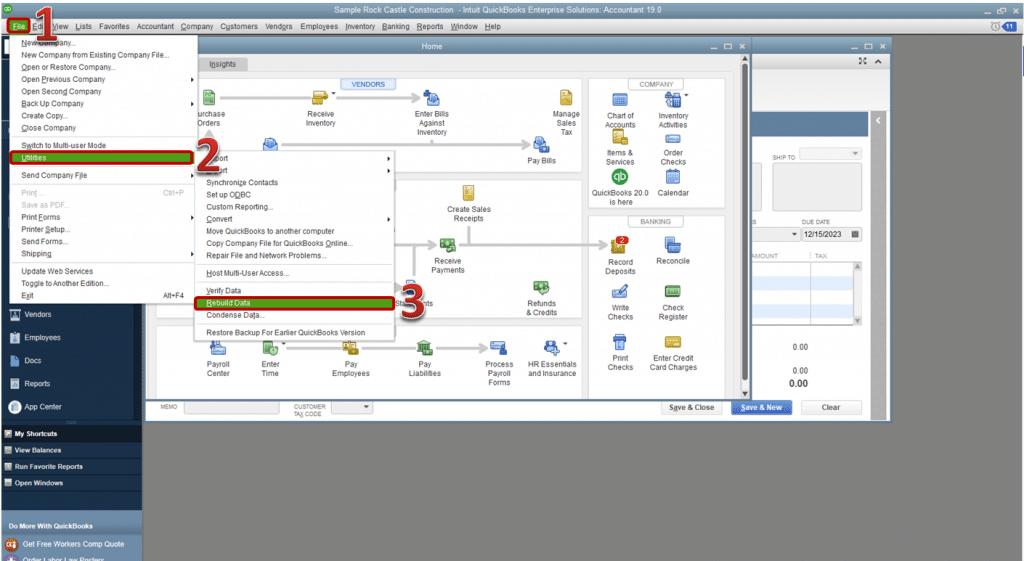 Run rebuild data utility - Screenshot