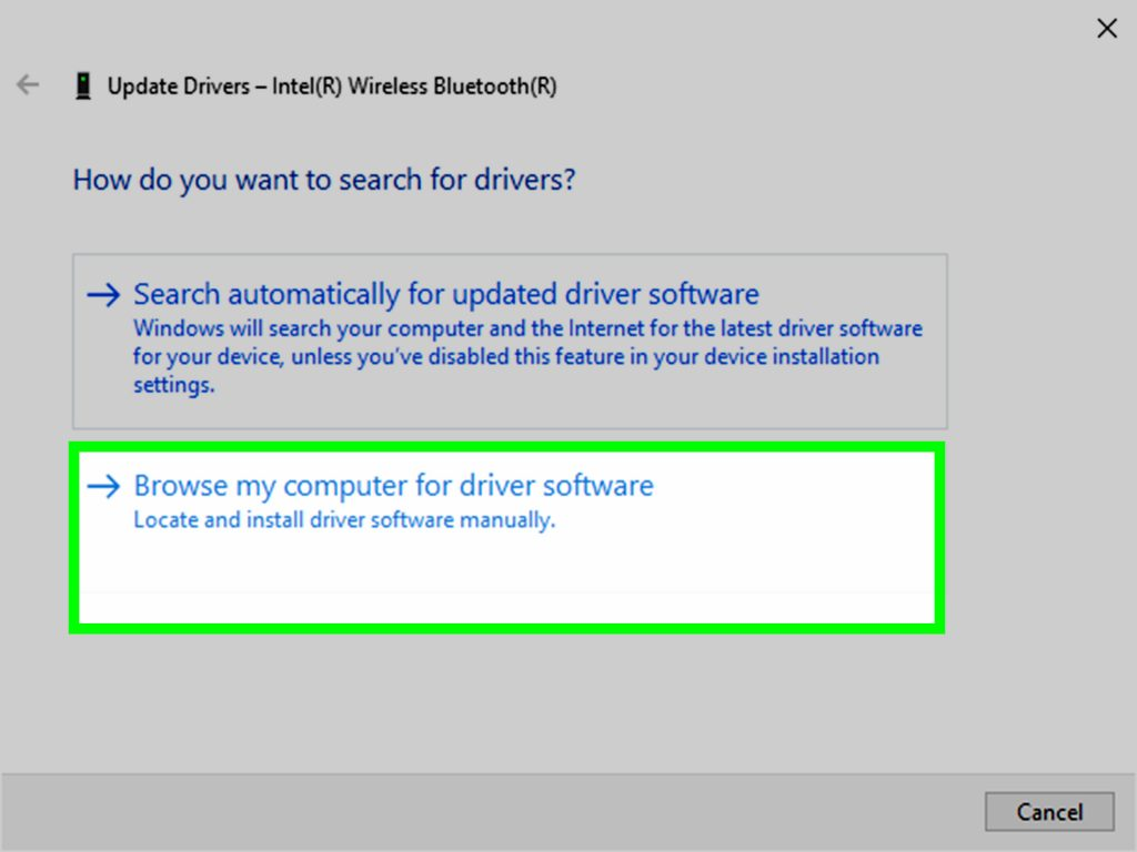 browse the system for driver software - Screenshot